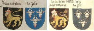 The coats of arms of Judas Maccabeus and Joshua