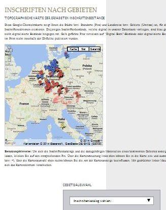 Abbildung der Karte der veröffentlichten und verfügbaren Bände der Deutschen Inschriften und der DIO.
