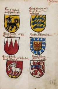 Wappenabbildungen in der Konzilschronik, Badische Landesbibliothek, fol. 149r.