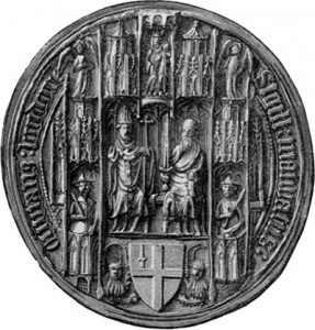 The first depiction of the arms of London on the second mayoralty seal, commisioned in April 1381. Image from Jewitt, Llewellyn, and John Hope, The Corporation Plate and Insignia of Office of the Cities and Towns of England and Wales, 6 vols. (London, 1895), ii, 244.