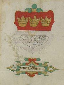 Das Kölner Wappen in einer Abschrift des Turnierbuchs von Georg Rüxner aus dem 17. Jh. (Foto: Wikipedia)