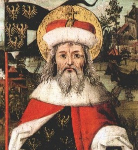 """Leopold III im """"Babenberger Stammbaum"""" Hans Parts Ende des 15. Jahrhunderts. (Foto:  Joachim Schäfer, Ökumenisches Heiligenlexikon"""