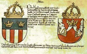 """Unter der Überschrift """"Affrika"""" folgen Wappen griechischer Kaiser und Herzöge"""