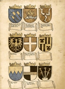 Im Teil der vermeintlich asiatischen Wappen finden sich zahlreiche imaginäre Wappen von (angeblichen) Königen und Territorien.