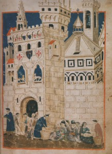 Les pauvres accueillis à Florence, vers 1337-1347. Domenico Benzi, Specchio umano, Florence, Biblioteca Medicea Laurenziana, ms. Tempi 3, fol. 58.