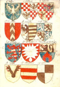 Beginning of the section including the arms of dukes (Bessin, Zwiednitz, Liegnitz) and counts (Nydou, Anhalt, Misen, Hesse, Holstein/Scouwenborch, Rügen, Hoya, Oldenburg and Solre (fol. 2v), taken from . ()