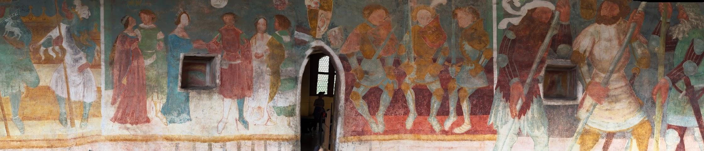 Ausschnitt aus dem Triadenfrresko mit ganz rechts den Riesen Otnit und Struthan, Schloss Runkestein (Foto: TH, leider etwas verzerrt)