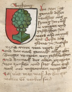 Introduction to the Gossembrot Armorial, accompanied by a depiction of Augsburg's coat of arms. (Cgm. 98, fol. 1v°)