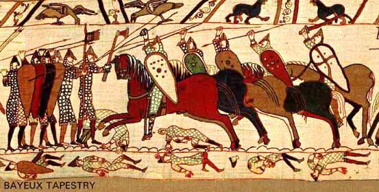 Normannen im Kampf gegen die Engländer 1066, Teppich von Bayeux, um 1170/80 (Quelle: Wikipedia Commons)
