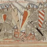 Kämpfende Ritter um 1170, Petrus Lombardus: Psalmenkommentar mit Bilderzyklus zum Leben Davids, um 1180, Staatsbibliothek Bamberg, Msc.Bibl.59, fol. 3r (Quelle: Bamberg)