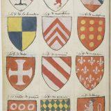 Paris, BnF, ms. fr. 4985 f.129v. Breton coats of arms on parchment. Draft or fair copy?