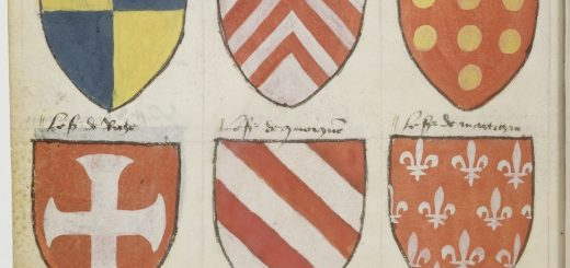 Paris, BnF, ms. fr. 4985 f.129v. Breton coats of arms on parchment. Draft or fair copy?