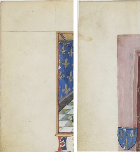 Paris, BnF, ms. fr. 4985 Prickings in the outer margins on f.13v-16v (detail)