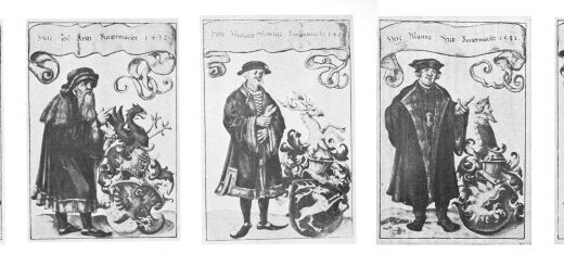Fig. 2: Fifteenth- and sixteenth century mayors of Augsburg, depicted in the manuscript of Clmens Jäger's chronicle. Image from: Weberchronik, pp. 5–6.