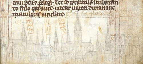 The skyline of London, Geoffrey of Monmouth, Historia regum Britanniae, Royal 13 A iii, British Library, MS Royal 13a III, fol. 14.