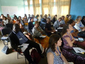 Participants listening to the talk of the Imam of Buea.