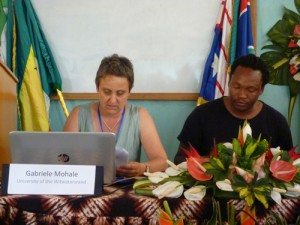 Gabriele Mohale presenting her paper. George Mahashe on her left.