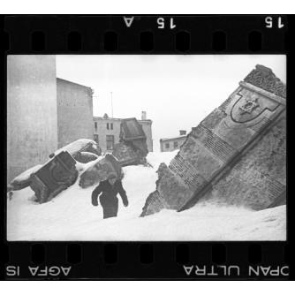 Le rovine della Sinagoga in Wolborska Street , distrutta dai tedeschi nel 1939