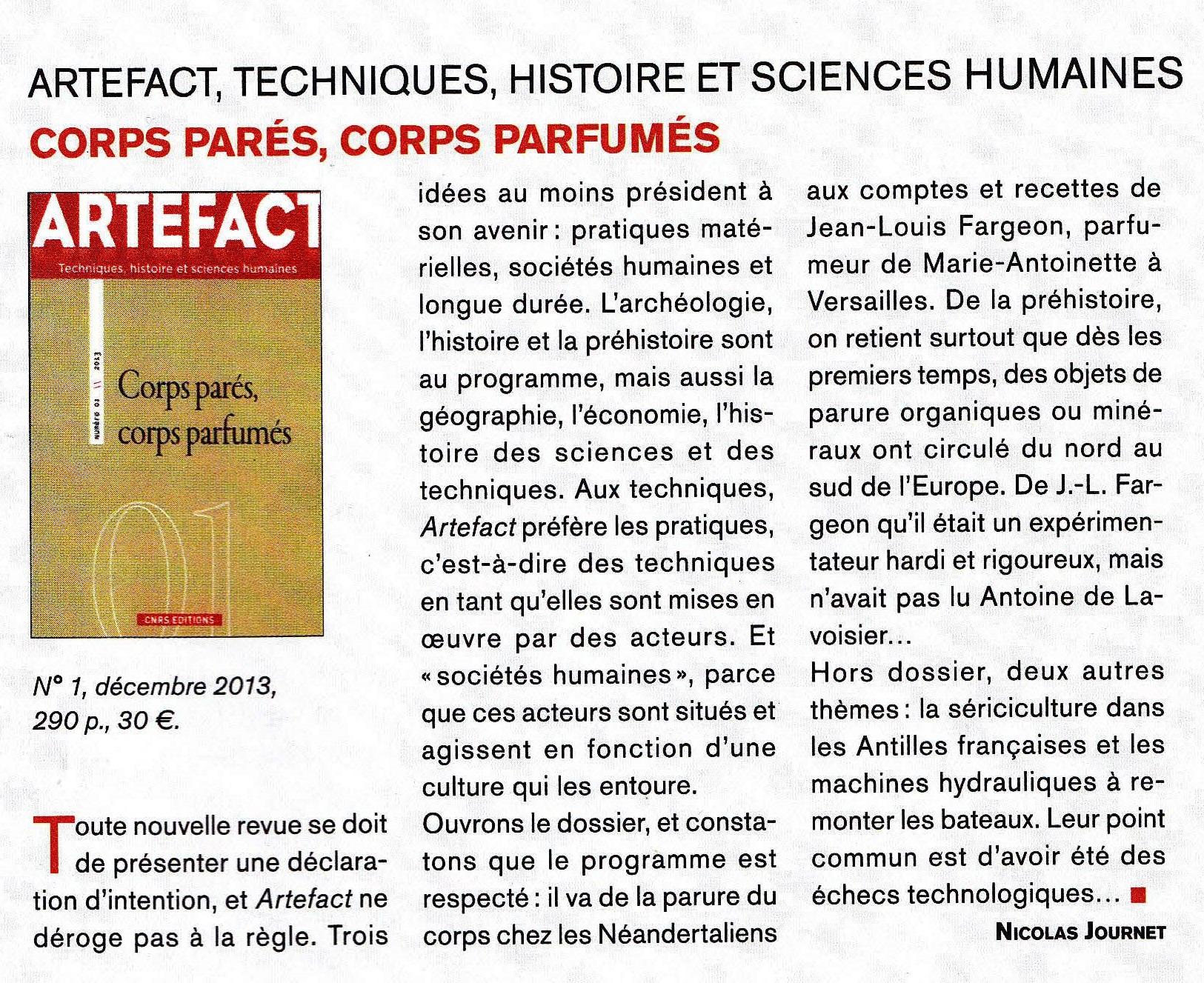 Revue artefact techniques histoire et sciences humaines for Revue sciences humaines