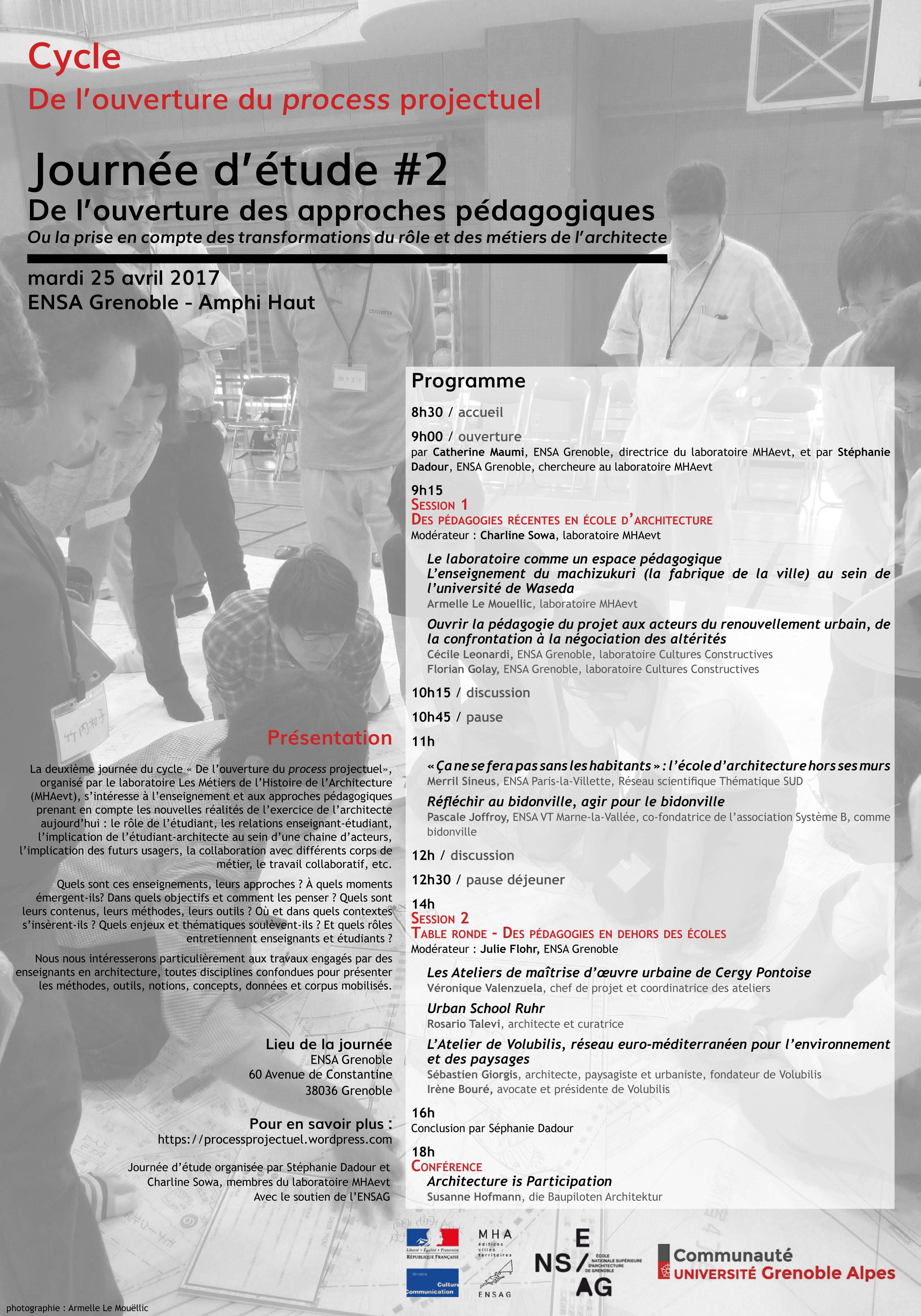 """Programme journée d'études """"De l'ouverture des aooroches pédagogiques"""""""