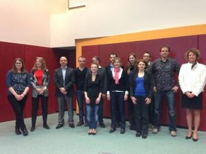 Les 8 doctorants retenus accompagné du jury / © R. Defiolle