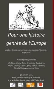 """Affiche de la journée d'études """"Pour une histoire genrée de l'Europe"""", 27-28 juin 2013"""