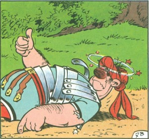 L'image du pouce levé à la page 9 de l'album «Astérix en Hispania»