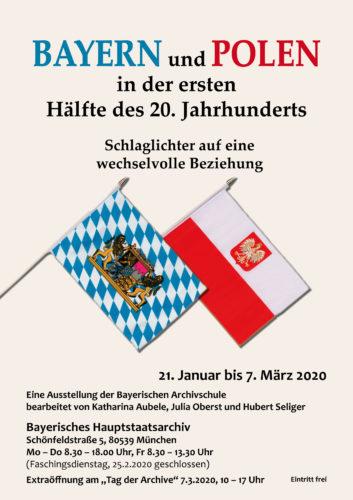 """Ausstellungsplakat """"Bayern und Polen in der ersten Hälfte des 20. Jahrhunderts"""" (Karin Hagendorn, Generaldirektion der Staatlichen Archive Bayerns)"""