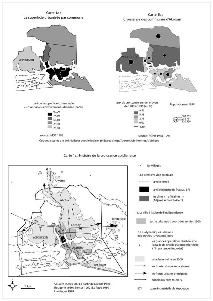 """Yopougon en situations : une commune d'Abidjan Source : Steck, Jean-Fabien, 2008, """"Yopougon, Yop city, Poy... périphérie et modèle urbain ivoirien"""", Autrepart, n°47, n°3/2008, pp. 229."""