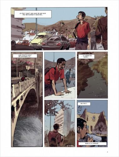 Le retour de Frano Petruša à Mostar Source : Frano Petruša, 2012, Meilleurs voeux de Mostar, Dargaud, planche 1.