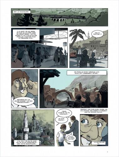 Le souvenir du premier séjour de Frano à Mostar en 1987 Source : Frano Petruša, 2012, Meilleurs voeux de Mostar, Dargaud, planche 5.