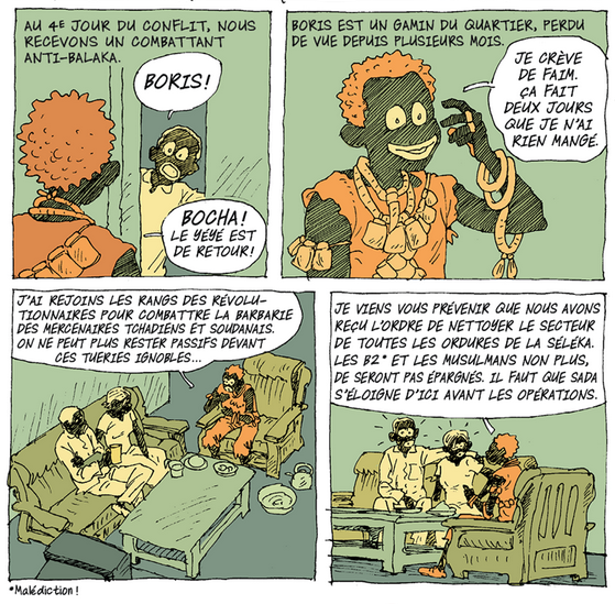 Didier Kassaï, 2014, Bangui, terreur en Centrafrique,extrait de la planche 14, épisode 3.