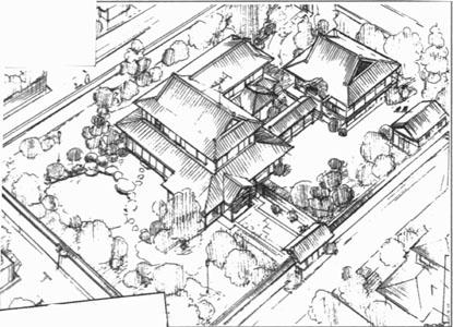 Le dojo familial de la famille Tendō Source : Esquisses réalisées pour l'adaptation en anime, « Tendo House », site Doug's Ranma ½ Resources for Fanfic Writers, s.d.