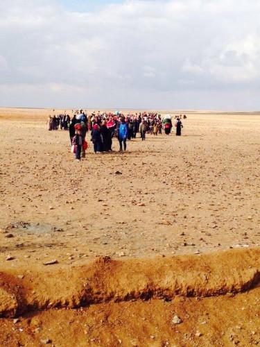 Migrants syriens à la frontière est de la Jordanie Source : Andrew Harper, HCR, février 2014.