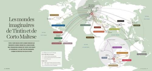 Les voyages de Tintin Source : Gilles Fumey et Christian Grataloup (dir.), 2015, L'Atlas Global, Les Arènes. Carte publiée sur le site des Echos.