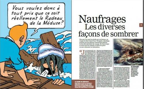 """""""Tintin et la mer"""", Historia, HS n°1, 2014, pp. 84-85. Double planche publiée sur le site Cols bleus."""