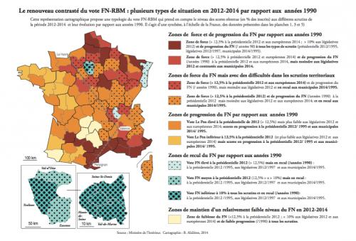 Le renouveau contrasté du vote FN-RBM : plusieurs types de situation en 2012-2014 par rapport aux années 1990 Source :