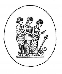 Pâte de verre, Genève, Musée d'art et d'histoire (inv. MF 1947) Dessin d'après A. Furtwängler, Die Antiken Gemmen, 1900