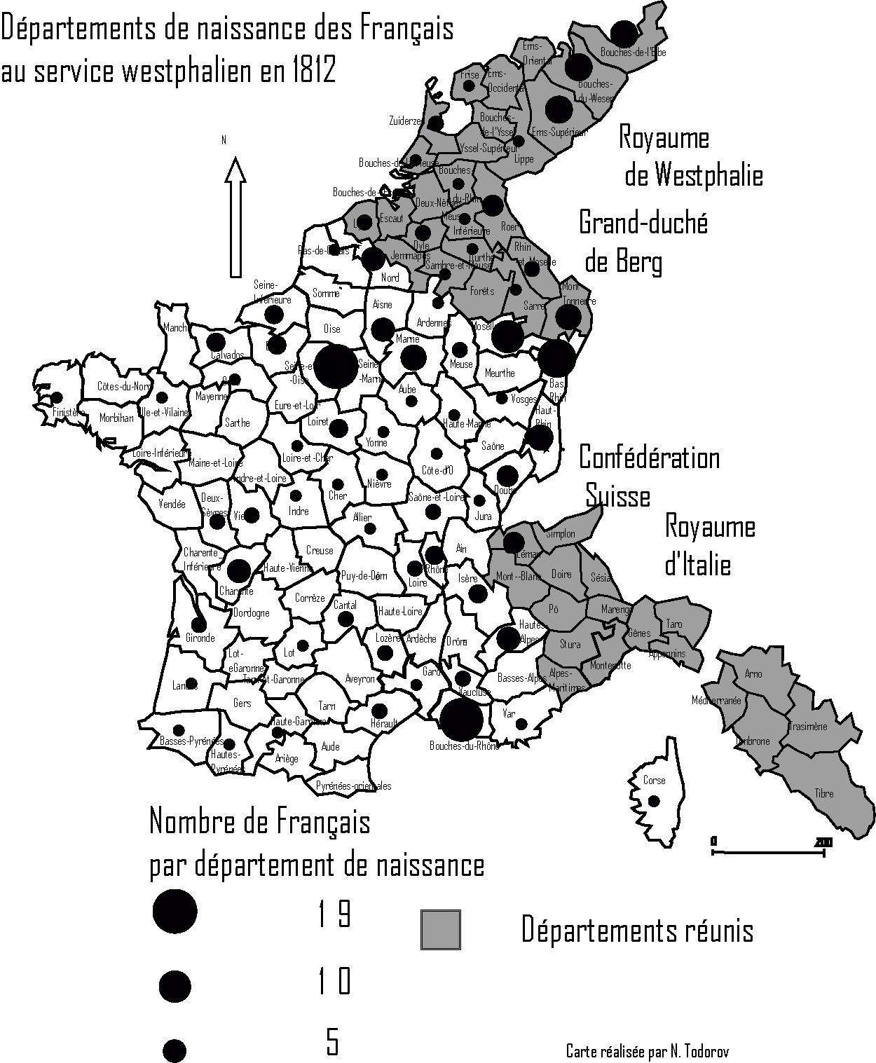 Geografische Herkunft der Franzosen, die Anträge auf Patentbriefe für den weiteren Dienst in Westfalen gestellt haben