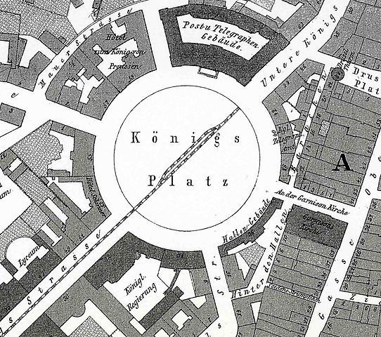 Abb. Königsplatz, Kassel on an old map, 1877, Wikimedia commons: http://commons.wikimedia.org/wiki/File:Koenigsplatz_Kassel_map_1877.jpg).