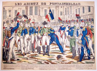 """Holzschnitt """"Les adieux de Fontainebleau"""", um 1830, Museum Burg Posterstein"""