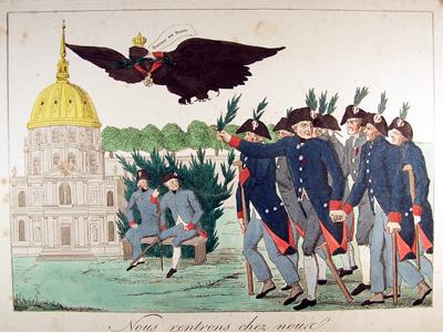 """Radierung """"Nous rentrons chez nous"""" - Wir kehren nach Hause zurück, um 1815, Museum Burg Posterstein"""