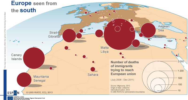 carte  l u2019europe vue du sud