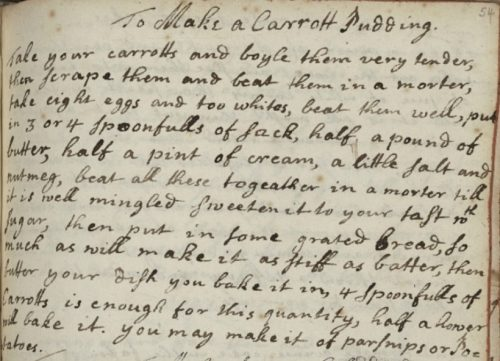 From the Cookbook of Constance Hall, 1672, Folger Shakespeare Library, V.a.20.