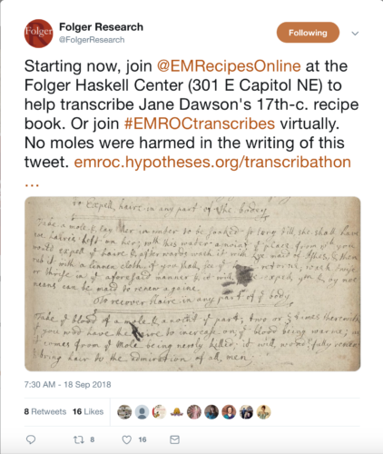 Early Modern Recipes | emroc