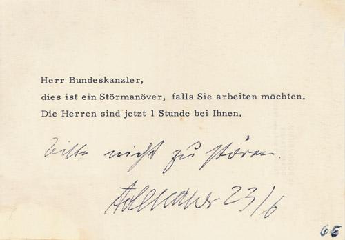 Anneliese Poppinga an Konrad Adenauer, um 1960