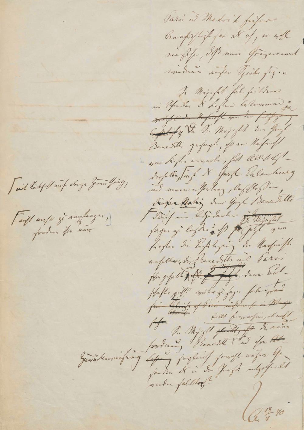 Emser Depesche - Abekens Konzept (Rückseite) PA AA, R 11674, Bl. 211 v