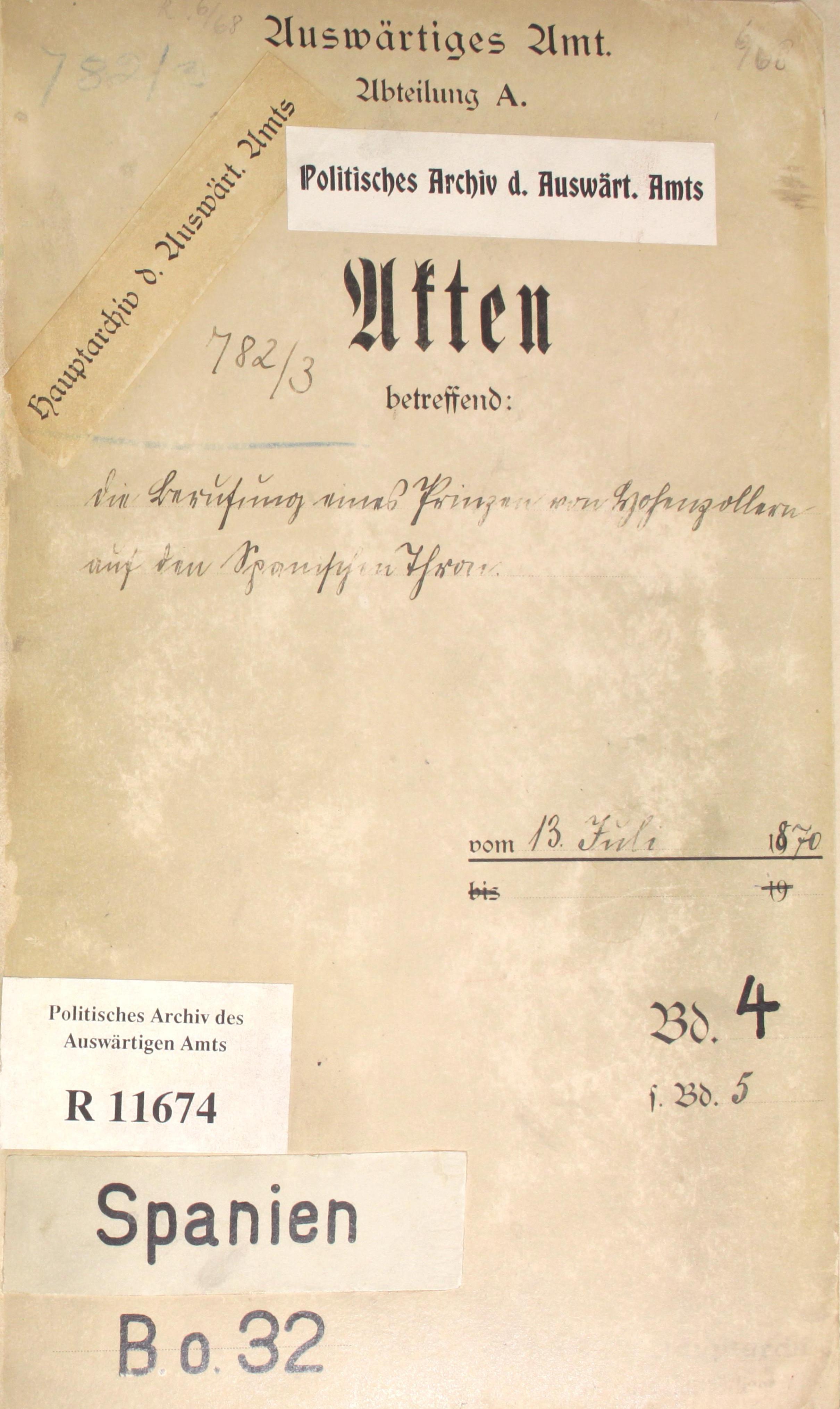 Deckel des Aktenbandes PA AA, R 11674