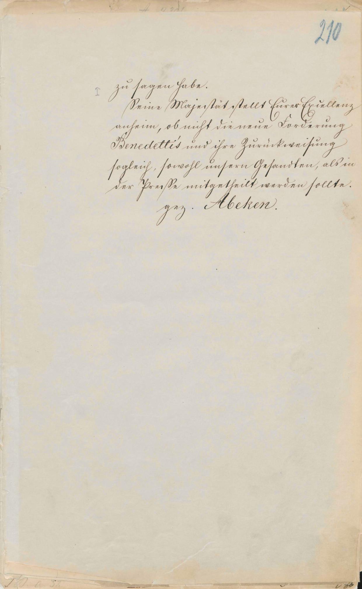 Emser Depesche - Entzifferung, PA AA, R 11674, Bl. 210 r