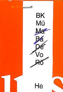 Umlaufzettel mit ausgestrichenen Bearbeiterkennzeichen